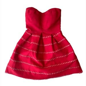 WOW COUTURE Red Strapless Flare Dress Small